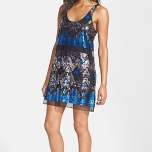 Tildon Sequin Geometric Shift Slip Dress L